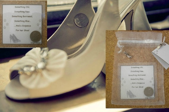 WHITE Lucky Sixpence Bride Shoe Good Luck Charm Gifts Something New Organza Bag Bridal Token