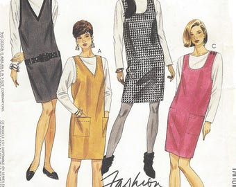 1990s Womens Jumpers and Tie Belt V Neckline or Scoop Neckline Pullover McCalls Sewing Pattern 5544 Size 12 14 16 Bust 34 36 38 UnCut