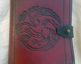 3 Dragons Leather Notepad - Game Of Thrones, Targaryen style sigil ~ Handmade Journal Book, for Gaming or Everyday Use