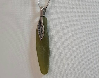 Lime Green Seaglass Feather Pendant
