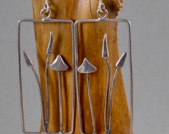 Hedgerow fungi 2  sterling silver earrings