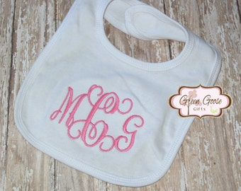 Mongrammed Bib  - Personalized Bib - Boy or Girl Available - You Choose Color Thread