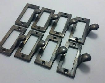 """8 Brass File Cabinet Drawer Label Holder Pulls 2 1/8"""" wide #F2"""