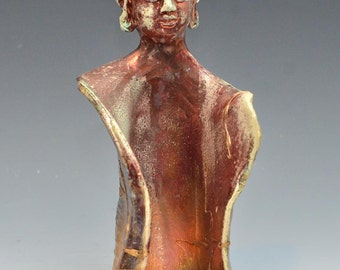 Red Raku Standing Buddha Sculpture With Threads of Gold