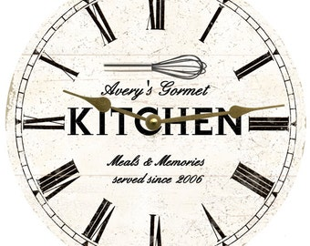 Personalized Kitchen Wall Clock- White Rustic Kitchen Clock
