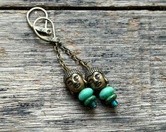 Earrings zen, Buddha bead, turquoise and bronze, Czech glass bead brass stud earrings.
