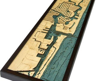 Ft. Lauderdale Wood Carved Topographic Depth Chart / Map