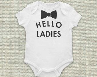 Newborn Outfit, Little Gentleman Outfit, Little Man Outfit, Hello Ladies Bodysuit, Baby Outfit, Baby, Boy, Black, Vinyl Applique