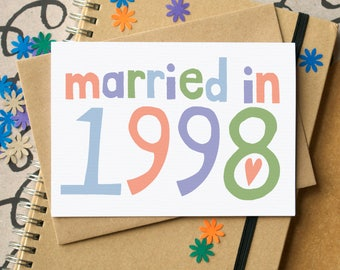 20th Wedding Anniversary Card - Married in 1998 Card - Twentieth Anniversary Card - 1998 wedding card - China Anniversary Card
