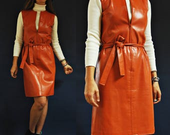 1970s Rust Orange Brown Pleather / Faux Leather Fall Shift Dress with Waist Tie
