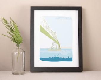 Illustrated Astoria Megler Bridge Art Print / Home Decor / Oregon Art