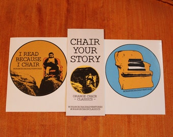 Orange Chair Book Stickers / Bookmark Pack