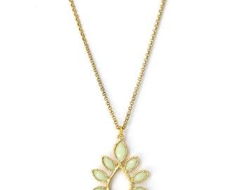Mint Necklace, Mint Pendant, Gold Floral Necklace, Long Necklace, Mint Flower Pendant, statement necklace,  Long Layering Necklace, E37LN-MT