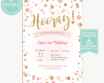 Donut party invitation template birthday printable girls confetti birthday invitation editable template hooray pink and gold girls birthday invitation instant download stopboris Images