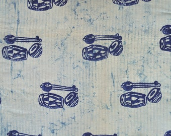 Musical instrument print Woven striped Kantha look Block print fabric Vegetable print cotton fabric by the yard