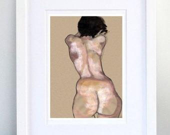 Print, Art Print, Wall Decor, Wall Art, Illustration Print,Soft Pink Tempera Nude Figure Drawing, No. 5 - print 8x11.5 inch (21x29.5 cm)