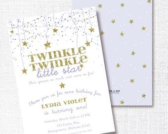 Twinkle Twinkle Little Star Birthday Party Invitation, Printable, Lavender Star Invite,  Purple, Gold, Confetti Stars, Girl
