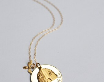 The Bee's Knees Stamped Bee Necklace