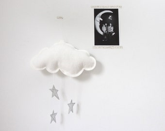 Luxe Wall Cloud with Leather Metallic Stars and Felt - mobile sculpture for modern baby nursery decoration- Free US Shipping