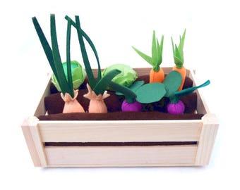 Felt Vegetable Garden Play Set, Garden Toy, Felt Veggies, Pretend Food For Kids, Vegan Friendly, Imaginative Play, Toddler Gift, Spring Gift