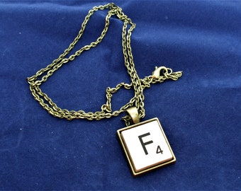 SCRABBLE INITIAL F NECKLACE with chain