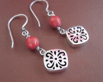 Dazzling Sterling Silver Coral bead Dangle Earrings / Bali handmade jewelry / silver 925 / (#28m)