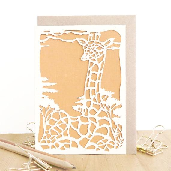 Giraffe Card Giraffe Birthday Card Cute Birthday Card Card
