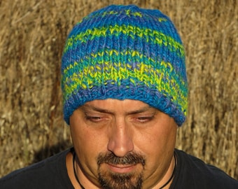 Handspun, Handpainted & Hand Knit Merino Wool Beanie - Thick and Warm - Loud and Proud