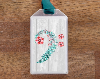 Bass Clef Floral Musical Instrument Case ID Luggage Tag