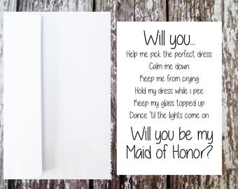 Will you be my Maid of Honor Card, Maid of Honor Proposal, Funny Bridal Party, Maid of Honor Dutie, Wedding Party, Maid Of Honor Ask Card
