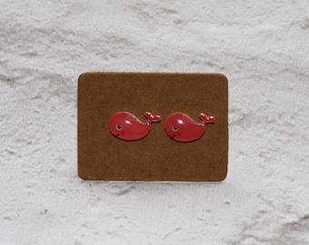 Pink Whale Earrings, Teeny Tiny Earrings, Big Fish Jewelry, Cute Earrings