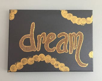 Dream dark grey and gold sparkle canvas painting
