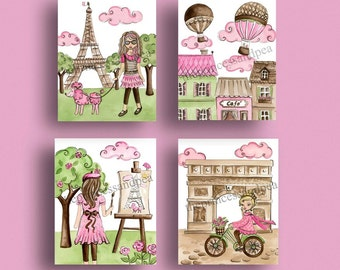 paris nursery art, paris decor,  paris bedding pictures, pink green nursery artwork, Paris bedroom art,  Paris Art Prints