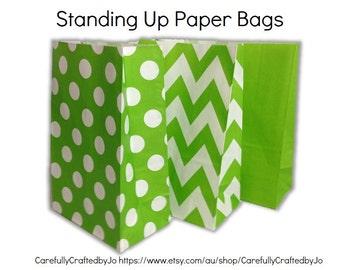 Set da 12, 24 verde - Chevron, pois, carta normale (tinta) Sacchetto piatto fondo borse, sacchetti regalo, festa, lecca lecca, favore, matrimonio, Packaging, bottino