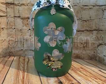 St. Patrick's Day  Shamrocks Painted Mason Jar Tea Light Candle Holder, St. Patrick's day, shamrocks, painted mason jar, tea light candle
