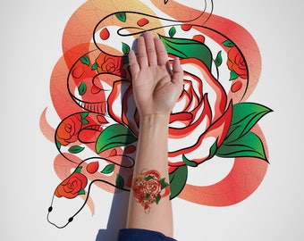 Snake and Rose Temporary Tattoo/Red Rose Temporary Tattoo/Snake Temporary Tattoo/Beautiful Flower and Snake Tattoo/Snake Halloween Tattoo
