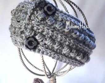 Handmade Malia Earwarmer Headband Teal Aran Gray Grey Crochet Button Fisherman Ear Warmer Head Band Messy Bun Ponytail Wrap