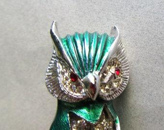 Vintage Rhinestone Barn Owl Brooch Pin Costume Jewelry Figural 1950s Mid Century Green Birding Bird Watcher MoonlightMartini