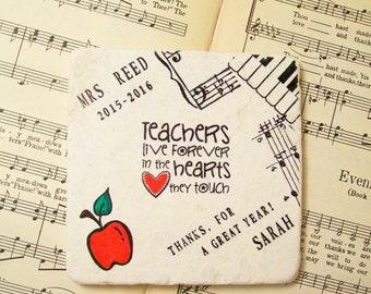 Music School Teacher Coaster, Music Teacher Gift, Personalized Music Teacher, Teacher Appreciation, Thank a Teacher