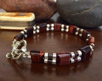 Red Tiger Eye Bracelet, Mens Tiger Eye bracelet, mens beaded bracelet, Red Tiger Eye jewelry, Jewelry for him, boyfriend gift, gifts for him