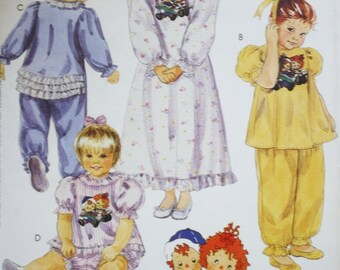 Toddlers Sleepwear Sewing Pattern McCalls 5702 Pajamas Nightgown Little Raggedys UNCUT Size 2-3-4