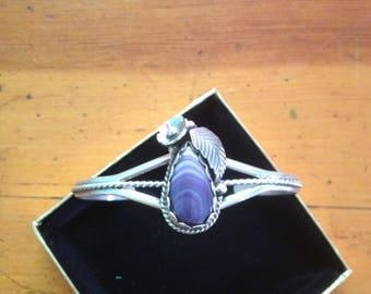 Wampum tear flower leaf Sterling Silver Bracelet