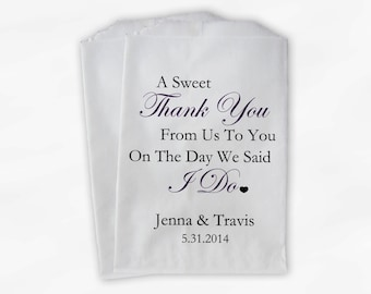 Sweet Thank You Wedding Candy Buffet Treat Bags - Dark Purple Personalized Favor Bags with Couple's Names, Date - Custom Paper Bags (0054)