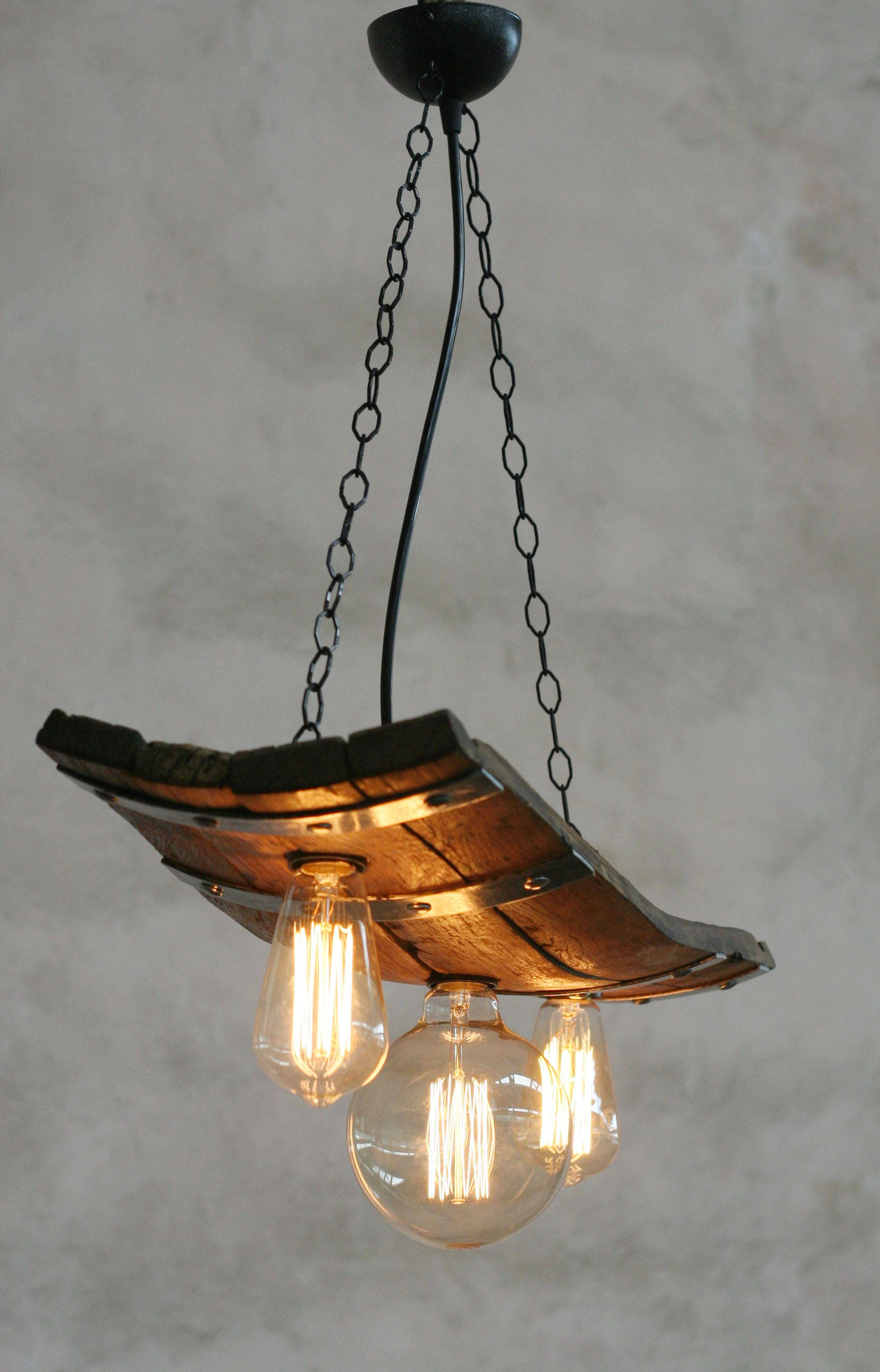Rustic ceiling lights Wine barrel with 3 lights