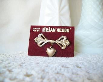 Vintage Lillian Vernon Locket Pin Goldtone Heart Locket Brooch