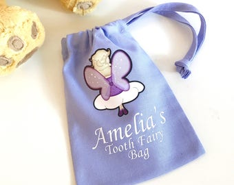 Personalised Fairy Lilac Tooth Fairy Bag, Tooth Fairy Keepsake, Tooth Fairy Pouch, Tooth Fairy Sack, Tooth Fairy Bag, Gift For Kids
