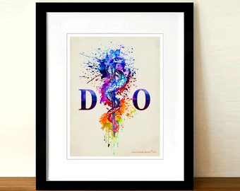 "Fine Art Print - ""Watercolor Doctor of Osteopathic Medicine"" - 8.5""x11"", Medical print, Doctor Gift, Doctors room decor, DO certification"