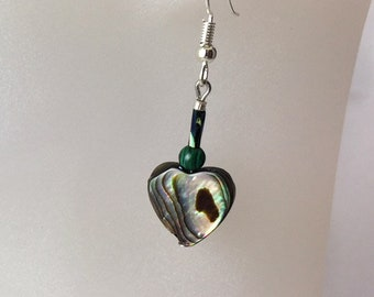 Natural abalone, silver metal heart earrings