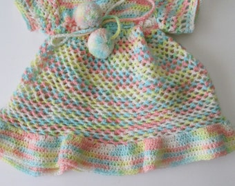Vintage Crocheted Baby Dress Pastel Colors With Ruffled Collar