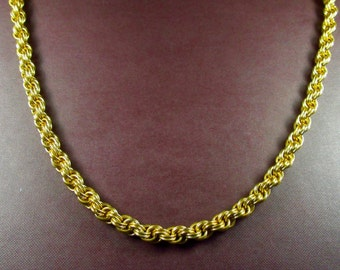 Gold Anodized Aluminum Double Spiral Weave Chainmaille Necklace